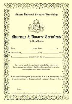 The Reverend Hank's Marriage & Divorce Certificate