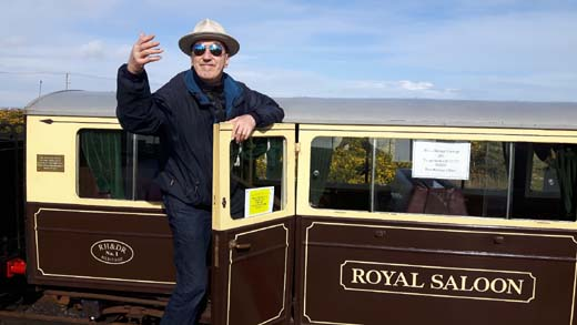 Hank rides in the royal carriage : Romney Hythe & Dymchurch Miniature Railway